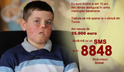 Meningita i-a desfigurat chipul lui Andrei. Acum are nevoie de 3 intervenții chirurgicale în Turcia