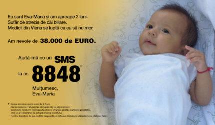 Boala Evei are o incidență de 1 la 10.000 de bebeluși. Să o ajutăm să trăiască!