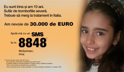 Irina este singurul caz din România de trombofilie severă la copii