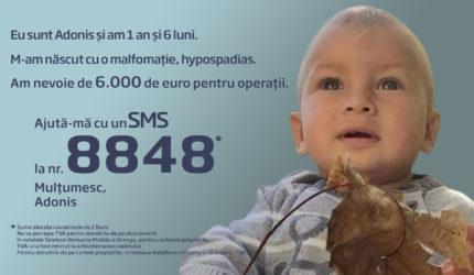 Adonis, 1 an şi 6 luni, are nevoie de 2 operaţii. Să-l ajutăm să fie normal!