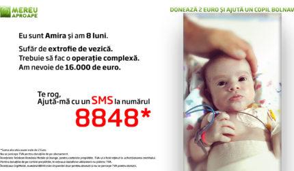 Amira are nevoie de noi. Fetița de doar opt luni suferă de extrofie de vezică, o boală cumplită